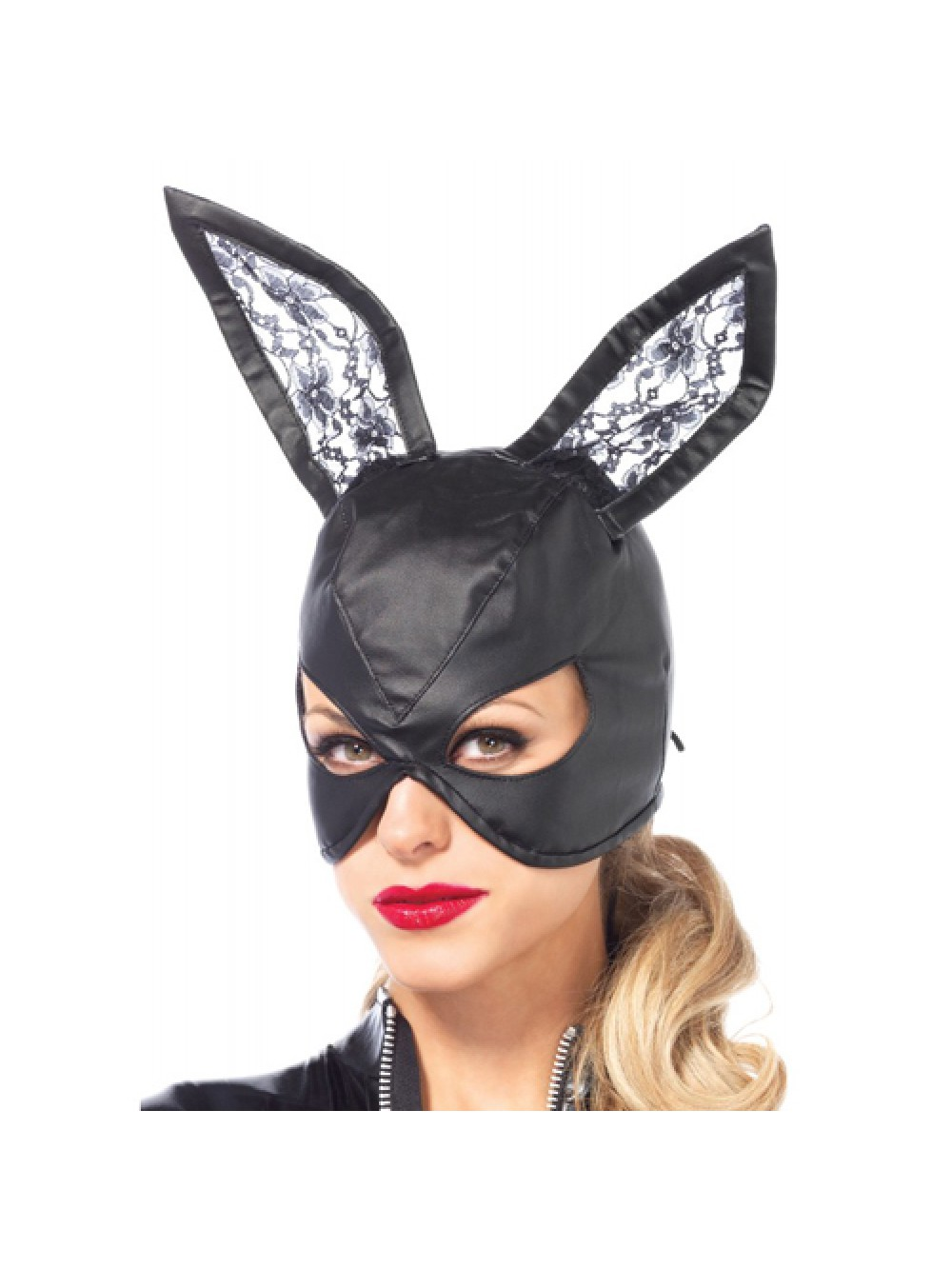 Artificial Leather Bunny Mask - Black 714718511443