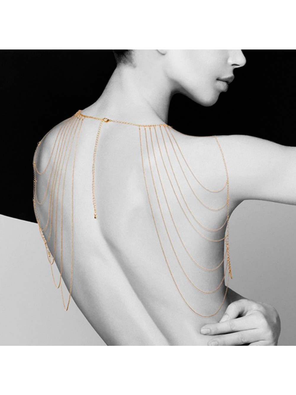 THE MAGNIFIQUE COLLECTION SHOULDER AND BACK METALLIC COLLAR BIJOUX INDISCRETS GOLD 8437008003757