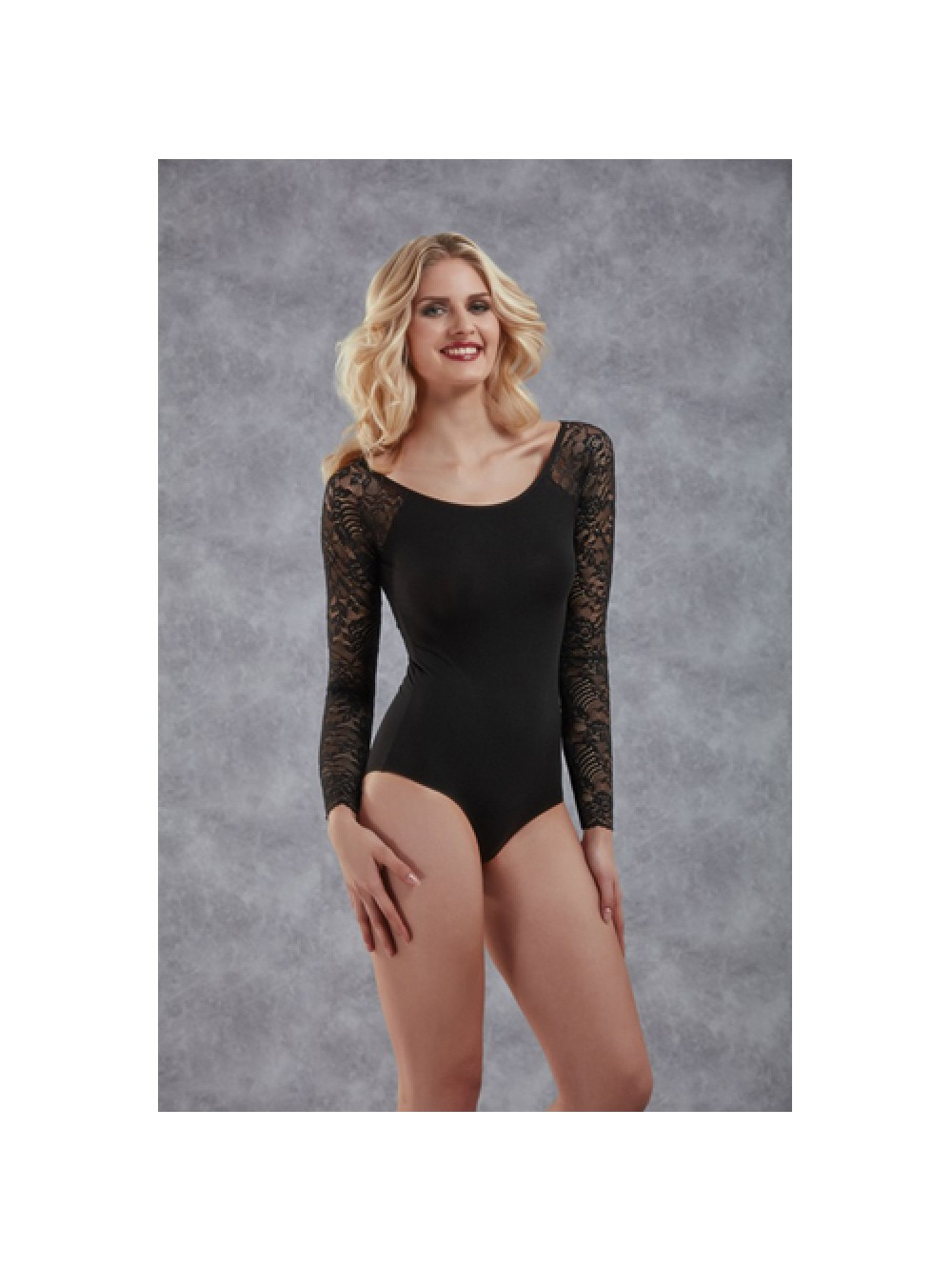 Body With Long Lace Sleeves - Black 8697694810859