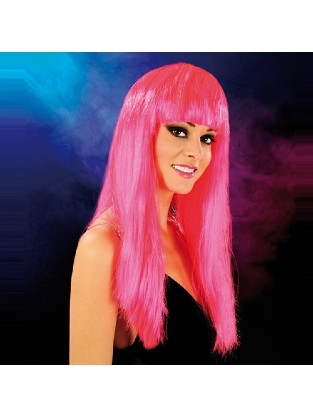 Cabaret Wig Bright Pink Long 3479225410005