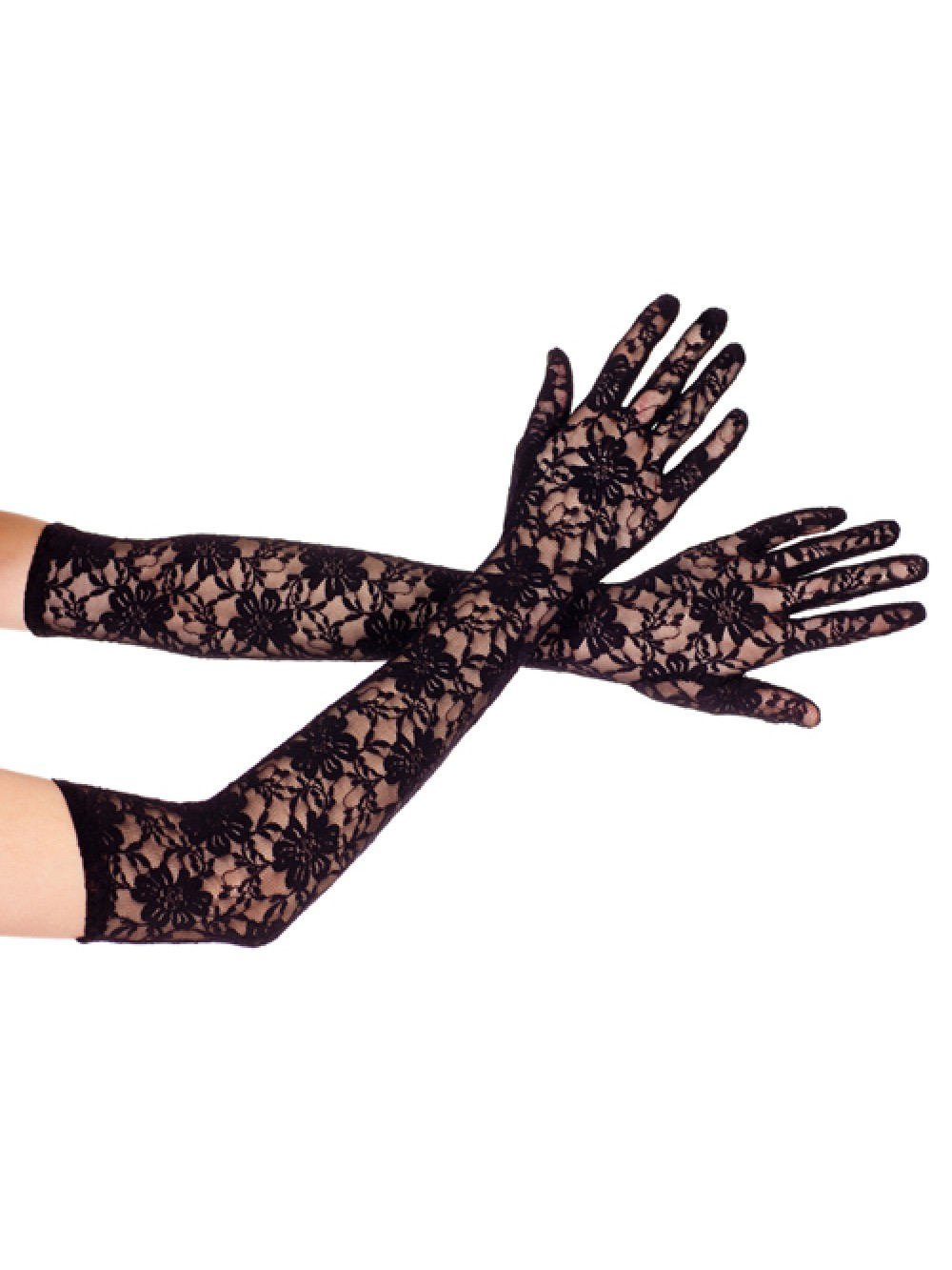 Extra long lace gloves BLACK 849450047599