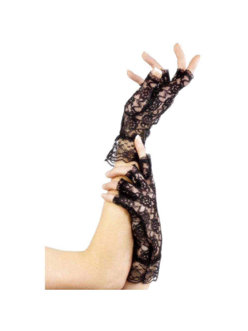 Fingerless Lace Gloves Black 5020570982518