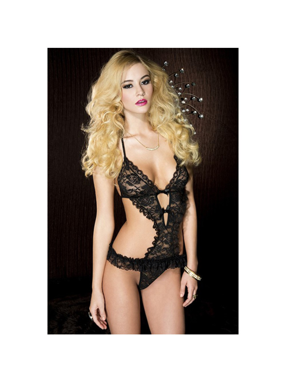 Lace bodysuit with ruffles - black 849450010234