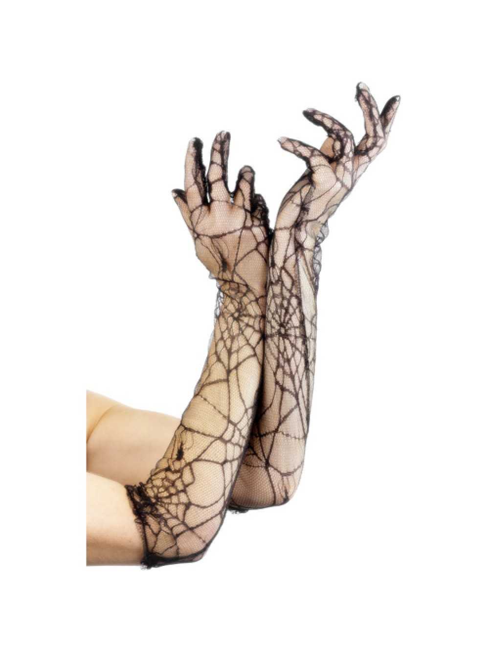 Lace Gloves 53cm/21 inches Black with Spiderwebs 5020570225493