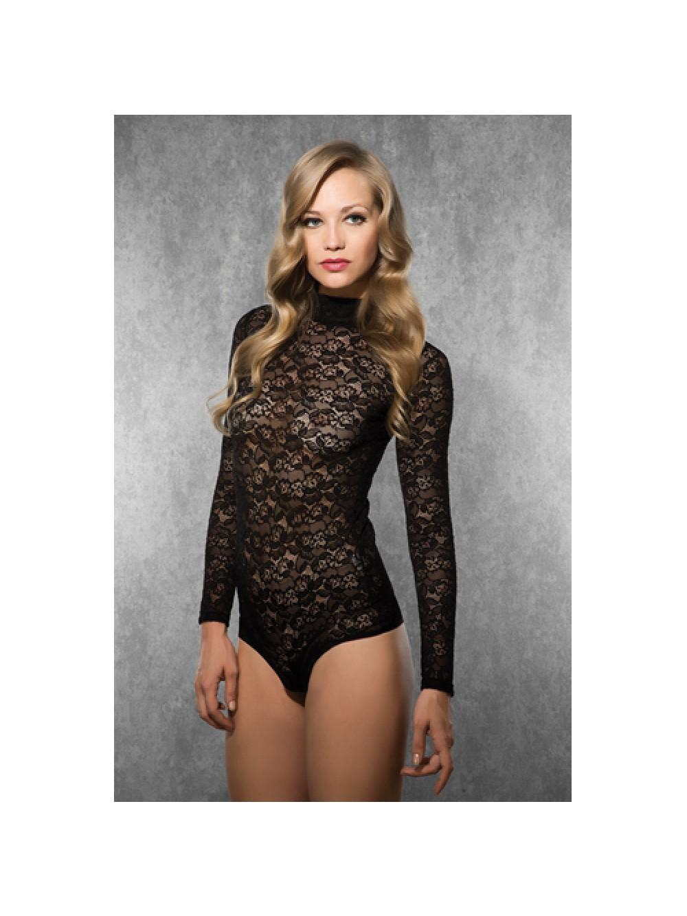 Ladies Long Sleeved Lace Body - Black 8697694805732