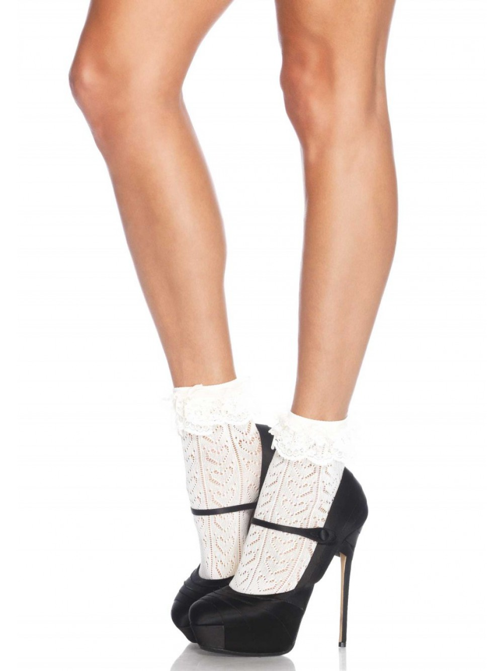 ANKLE HIGHS CROCHET HEART LACE TOP IVORY 0714718503561