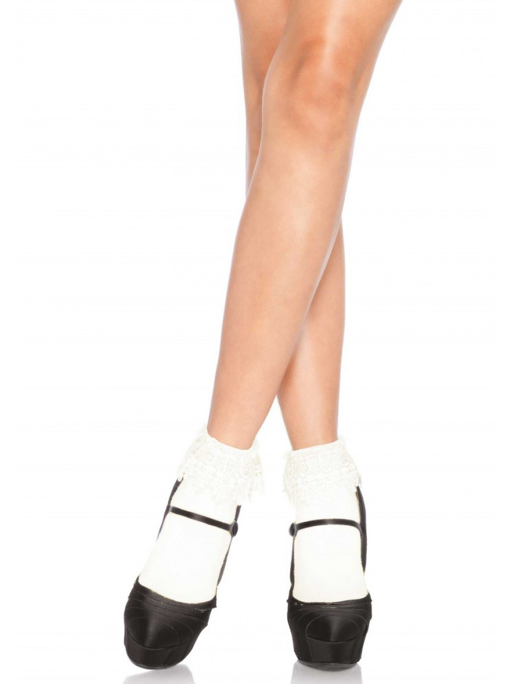 ANKLE HIGHS WITH LACE TOP WHITE 0714718503530