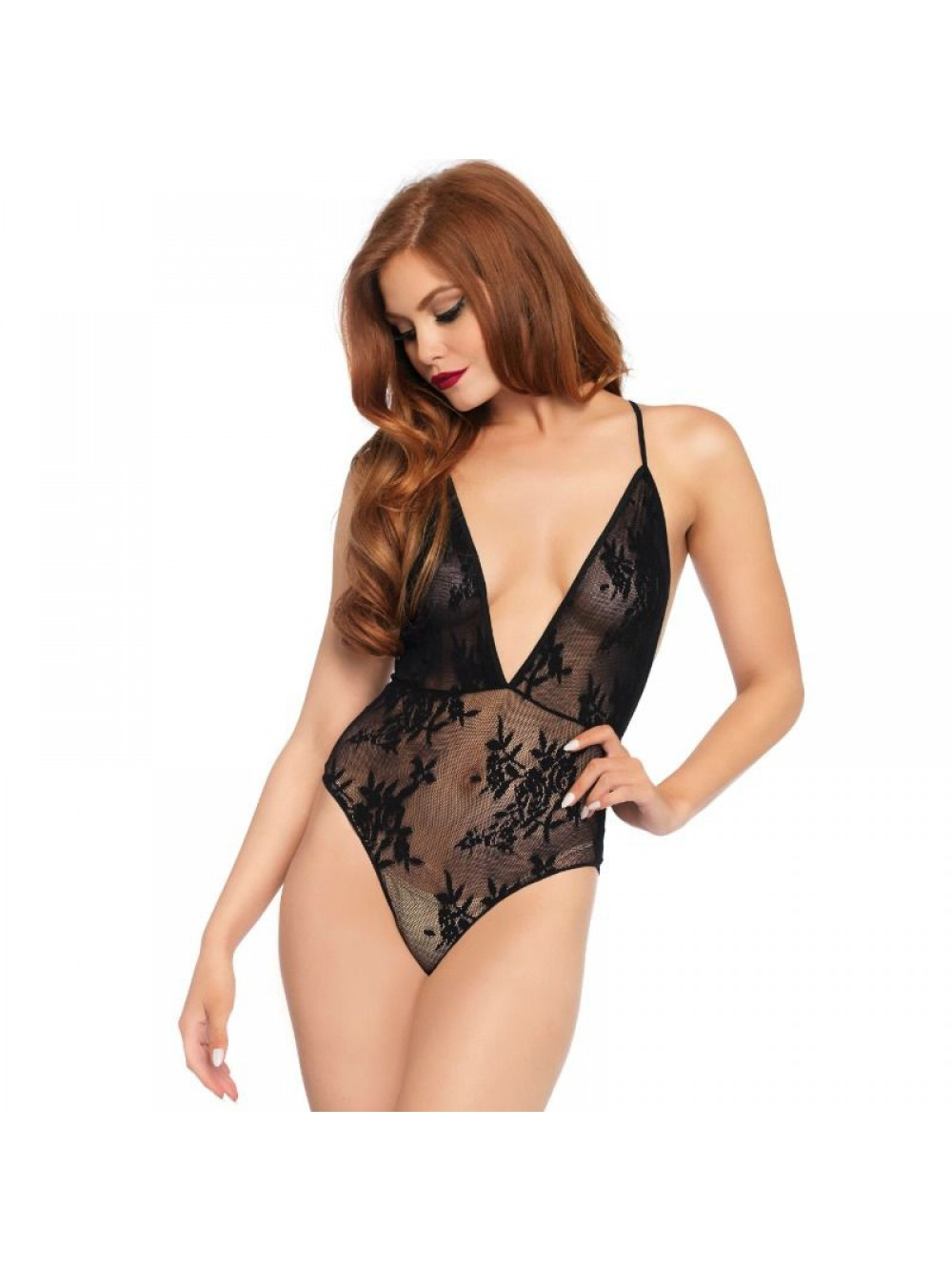 DEEP V FLORAL LACE TEDDY ONE SIZE 714718531021