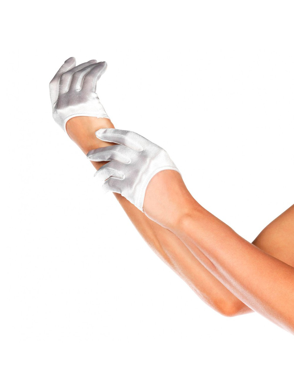MINI CROPPED WHITE SATIN GLOVES 0714718426181