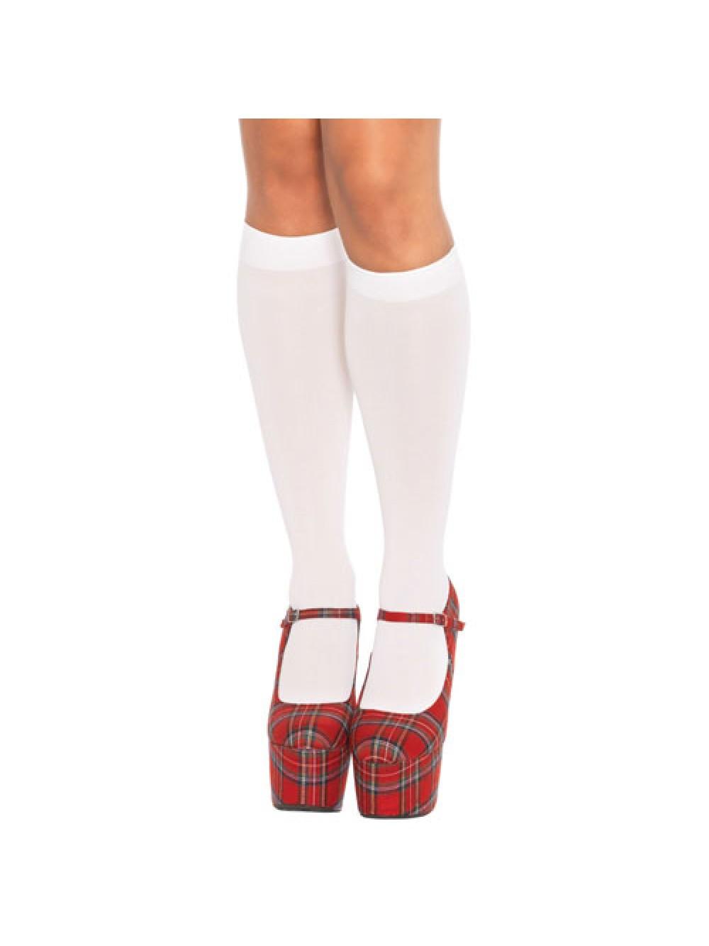Leg Avenue Nylon Knee Highs White UK 8 to 14 714718005751