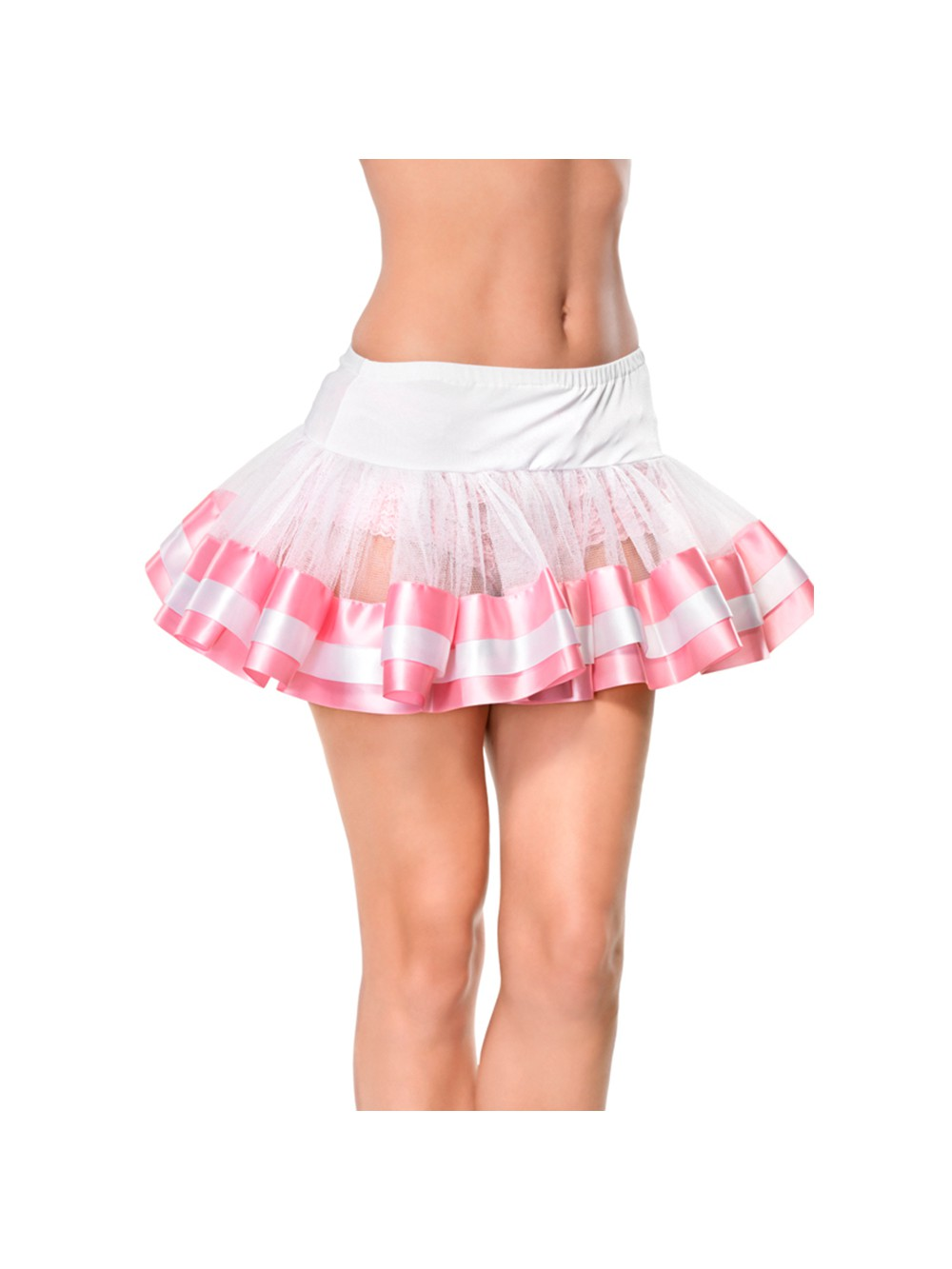 WHITE TULLE SKIRT WITH SATIN DETAILS PINK 0714718408149