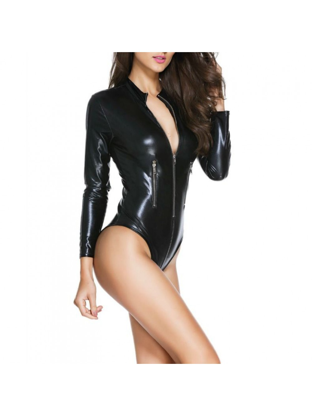 QUEEN LINGERIE TEDDY INSPIRE BLACK LEATHER M 702949729065