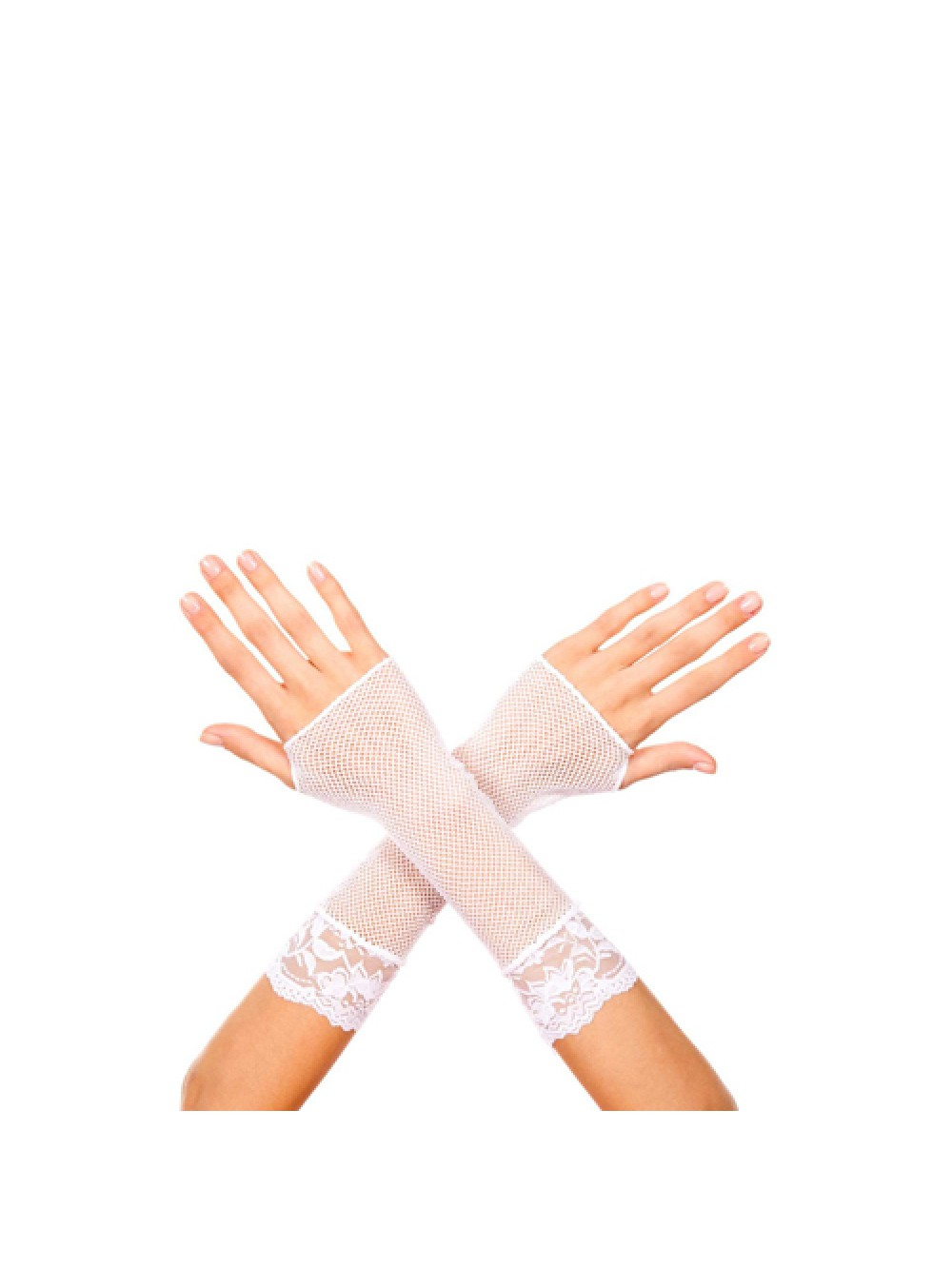 Short fishnet gloves with lace trim WHITE 4711168904210
