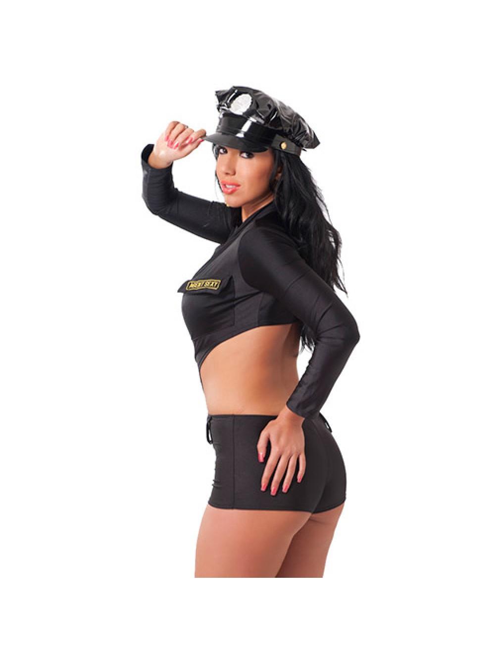 Nero One Piece Uniforme della polizia con il cappello