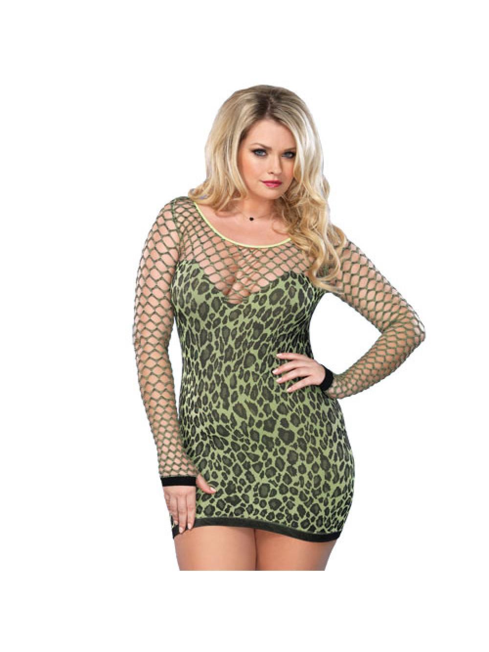 Leg Avenue senza saldatura leopardo Miniabito UK da 16 a 18