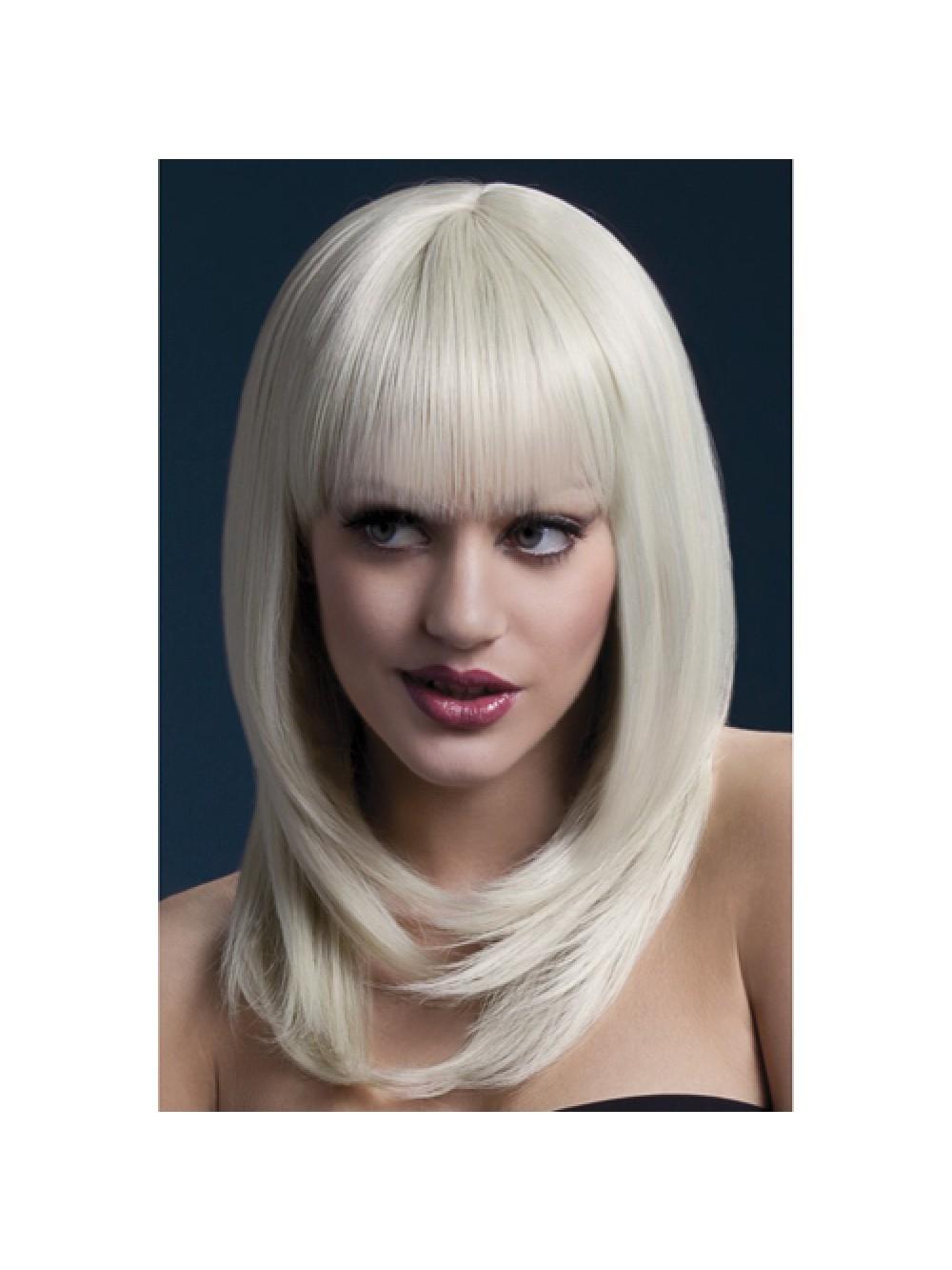 Lunga parrucca con frangetta - Bionda