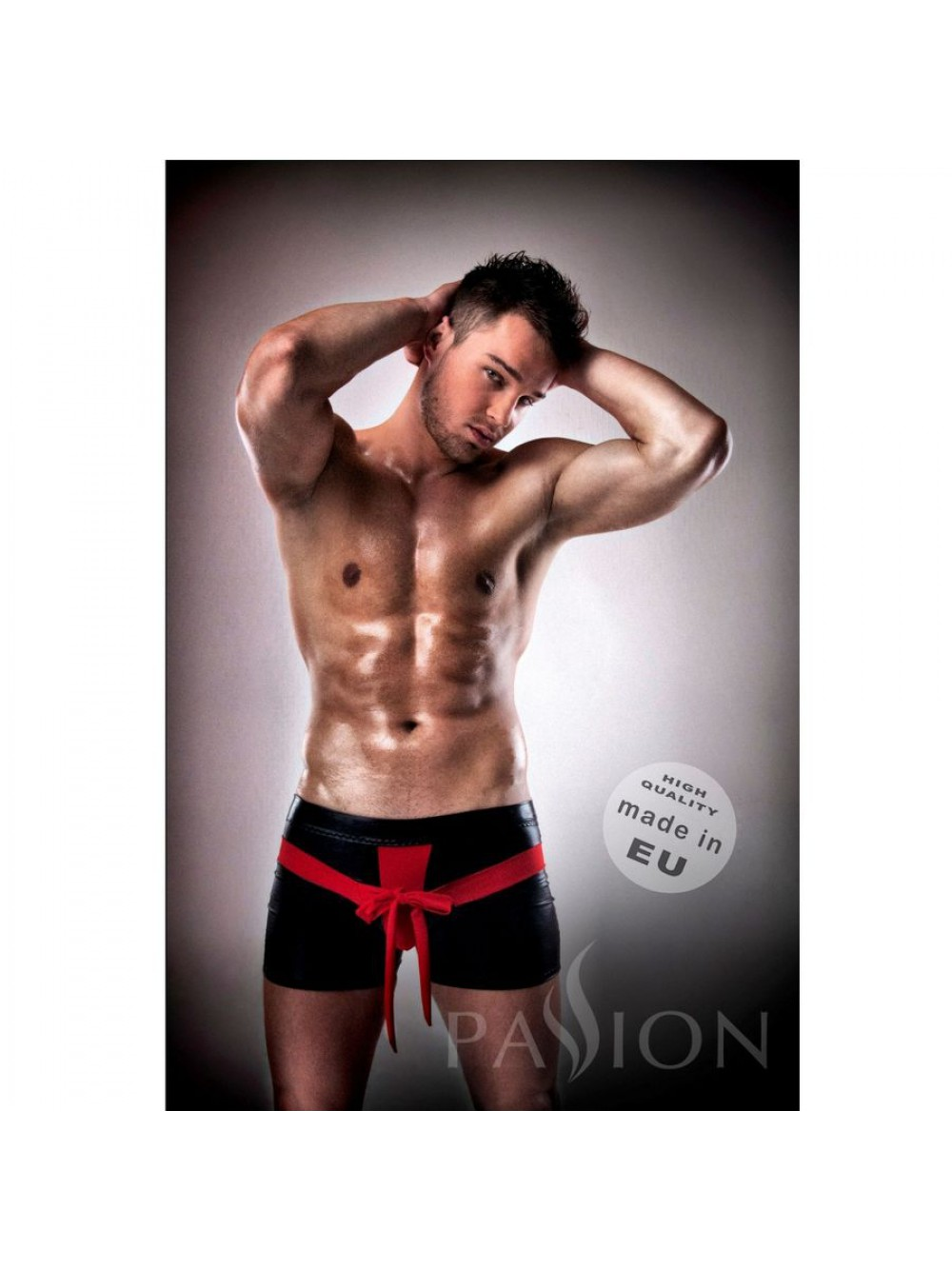 PASSION KOMPLET UNDERWEAR RED/BLACK  LEATHER  L/XL