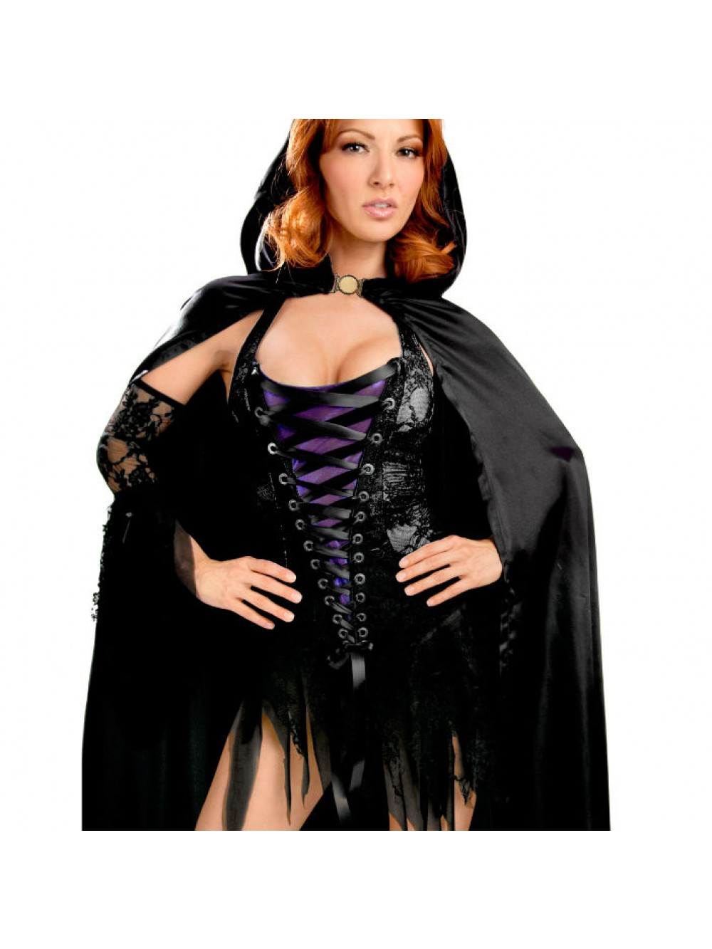 QUEEN VIXEN VAMP PARTY DRESS WITH CAPE AND SLEEVES