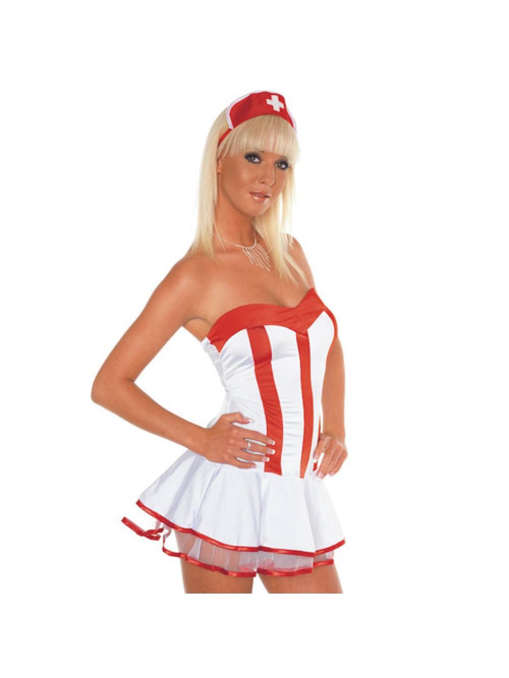 Rosso e abito bianco Nurse Outfit
