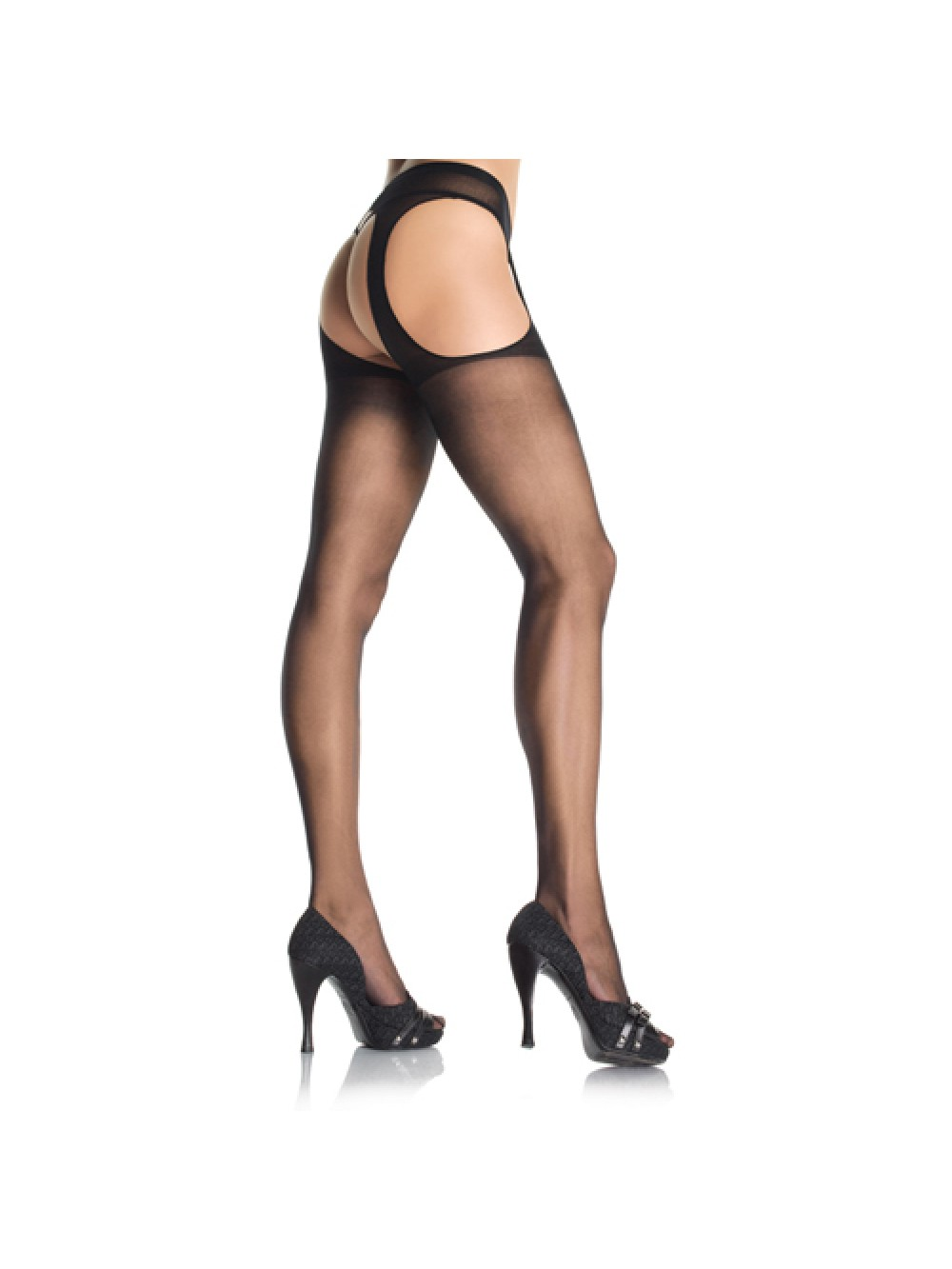 COLLANT VELATO APERTO PLUS SIZE HOSIERY SHEER SUSPENDER BLACK