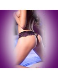 CROCHTLESS THONG CR-4071 BLACK AND PURPLE photo