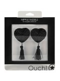 HEART NIPPLE TASSELS OUCH! NIPPLE COVERS BLACK toy