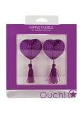 HEART NIPPLE TASSELS OUCH! NIPPLE COVERS PURPLE toy