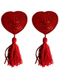 HEART NIPPLE TASSELS OUCH! NIPPLE COVERS RED 8714273948113