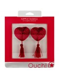 HEART NIPPLE TASSELS OUCH! NIPPLE COVERS RED toy