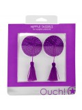 ROUND NIPPLE TASSELS OUCH! NIPPLE COVERS PURPLE toy