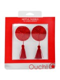 ROUND NIPPLE TASSELS OUCH! NIPPLE COVERS RED toy