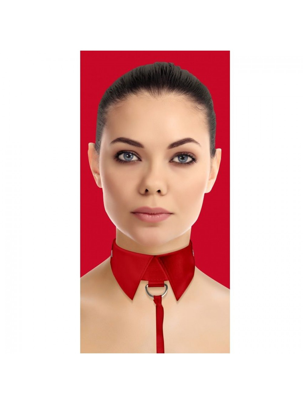 OUCH CLASSIC COLLAR WITH LEASH RED 8714273580993