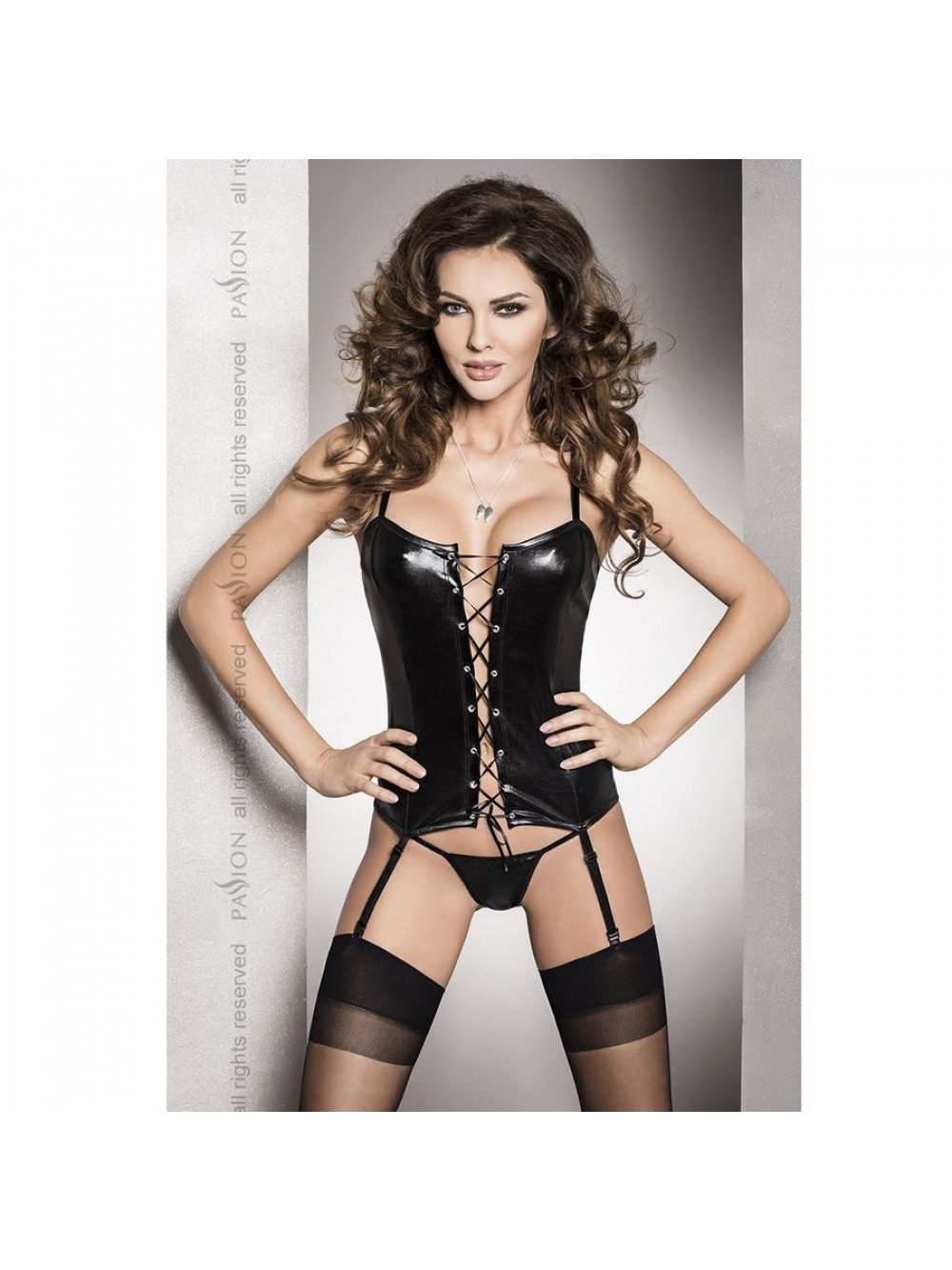 BES CORSET BLACK FETISH WITH MATCHING AND THONG S/M