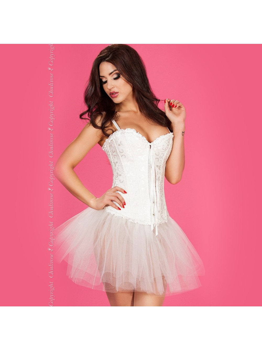 CORSET AND THONG CR-3155 WHITE