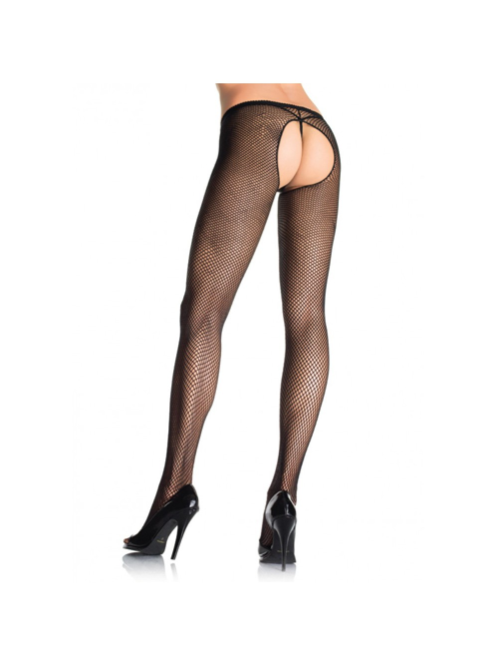 Crotchless Fishnet Pantyhose - Black