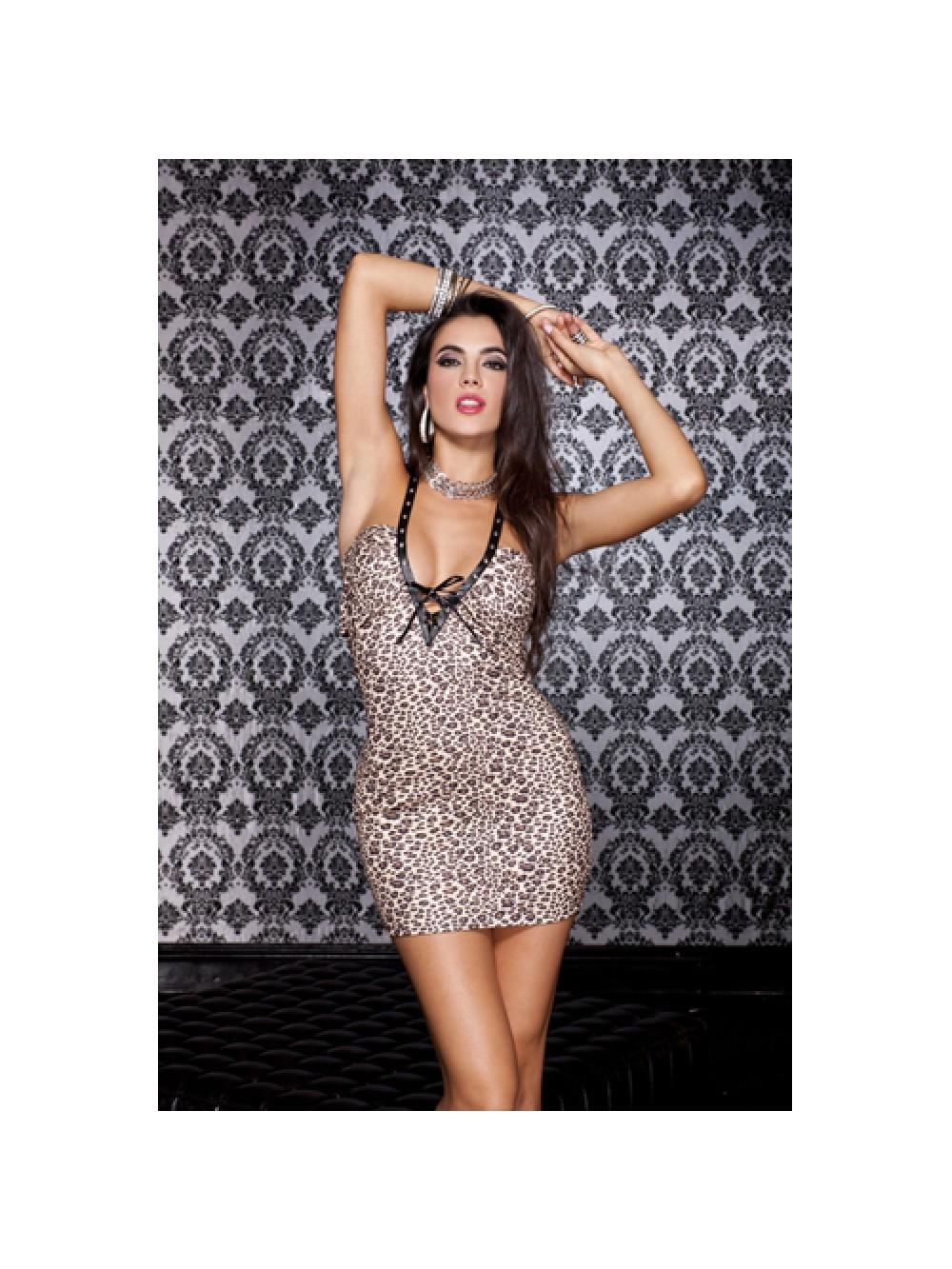 Deep V-neck halter dress with leopard print