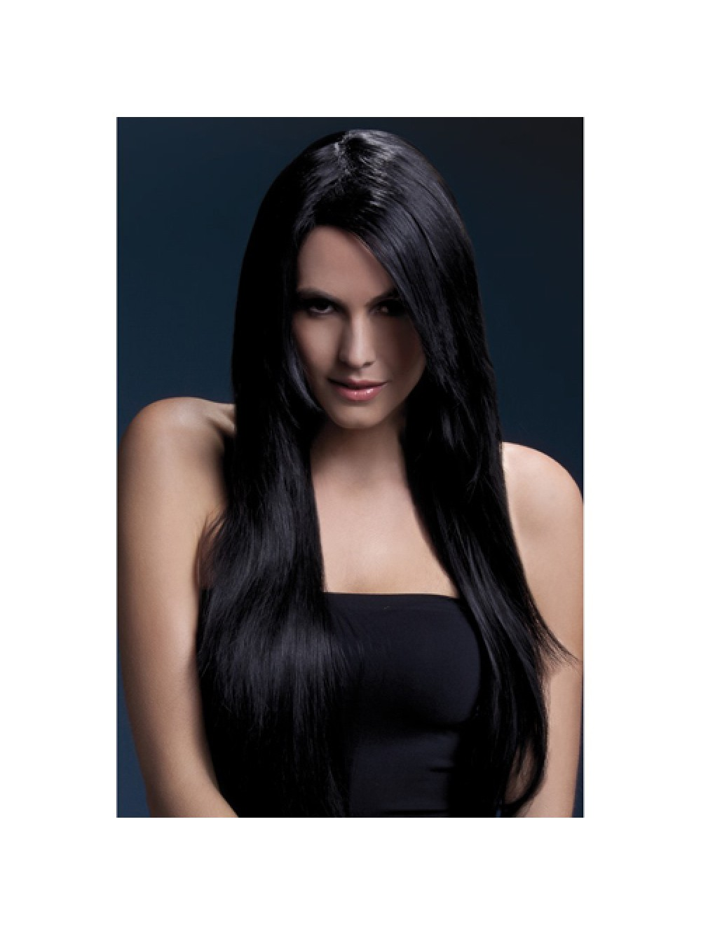 Fever Amber Wig 28inch/71cm Black Long Straight with Feathered Fringe
