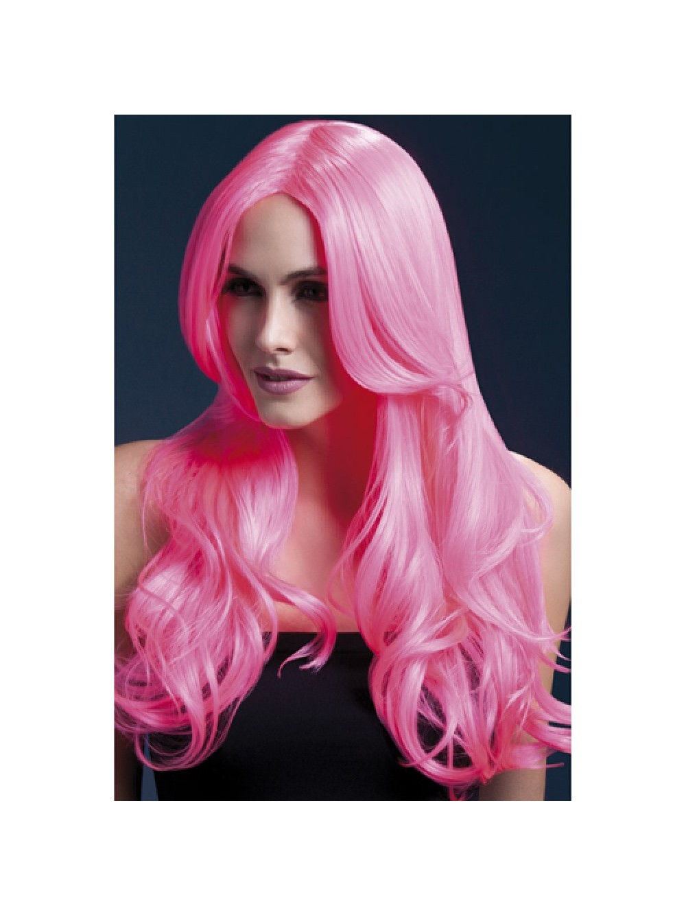 Fever Khloe Wig 26inch/66cm Neon Pink Long Wave with Centre Parting