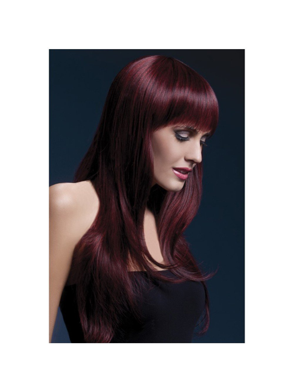 Fever Sienna Wig 26inch/66cm Black Cherry Long Feathered with Fringe