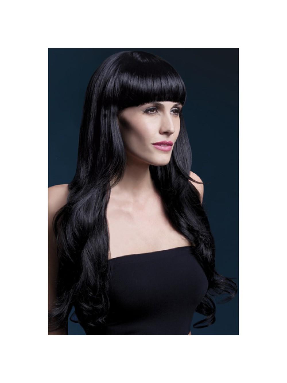 Fever Yasmin Wig 28inch/71cm Black Long Loose Curls with Fringe