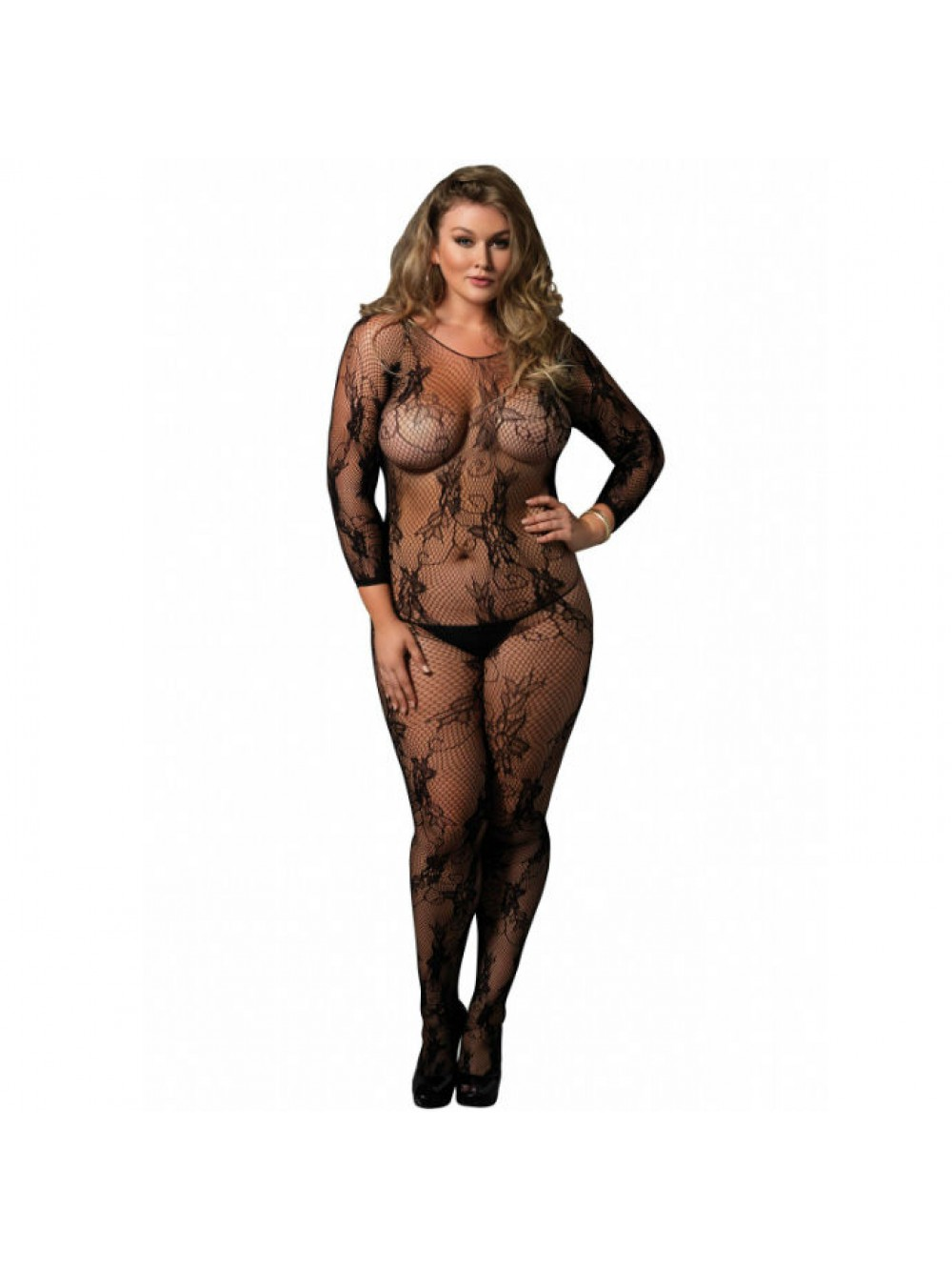 LEG AVENUE FLORAL LACE BODYSTOCKING PLUS SIZE