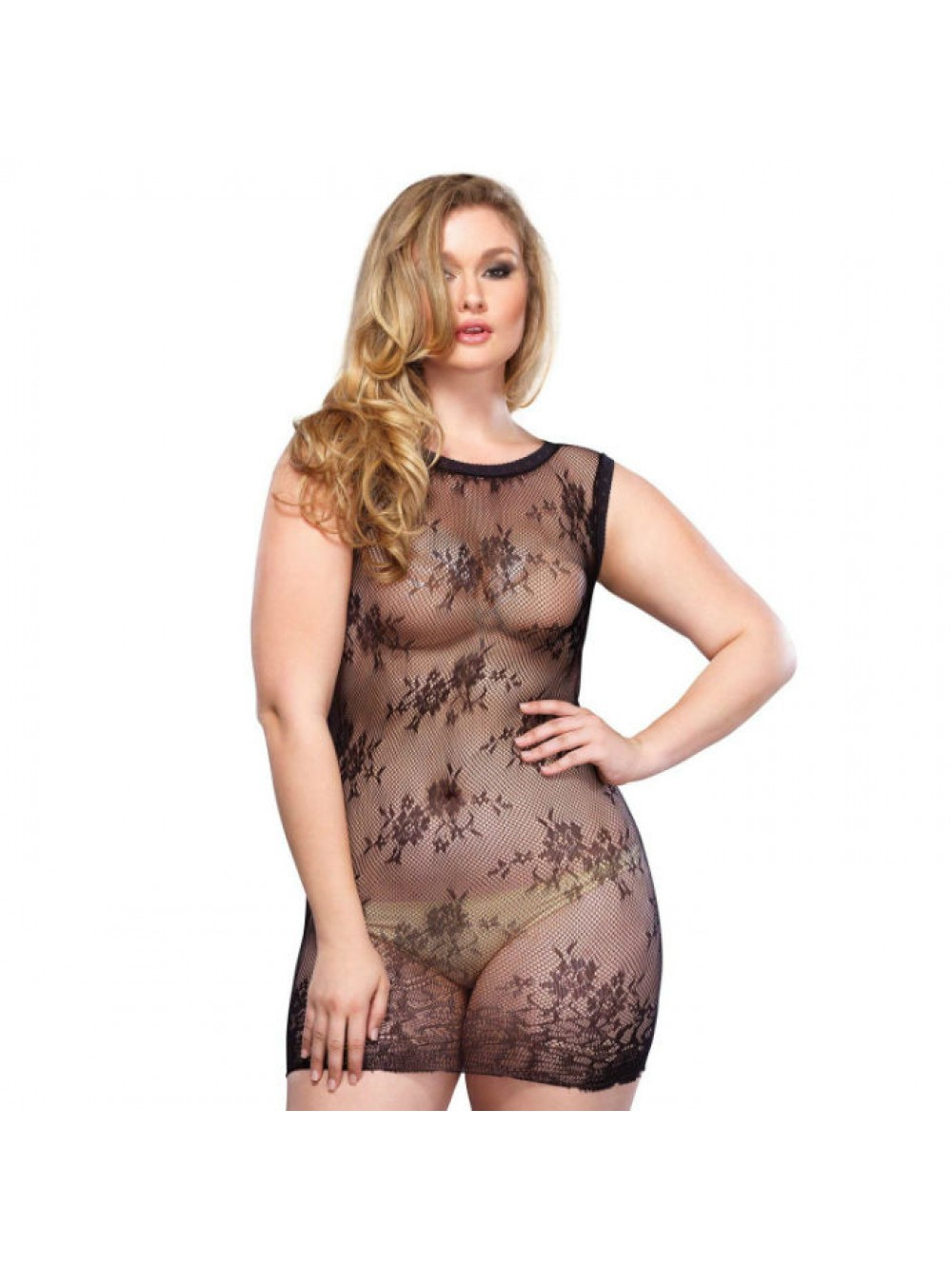 LEG AVENUE FLORAL LACE MINI DRESS PLUS SIZE