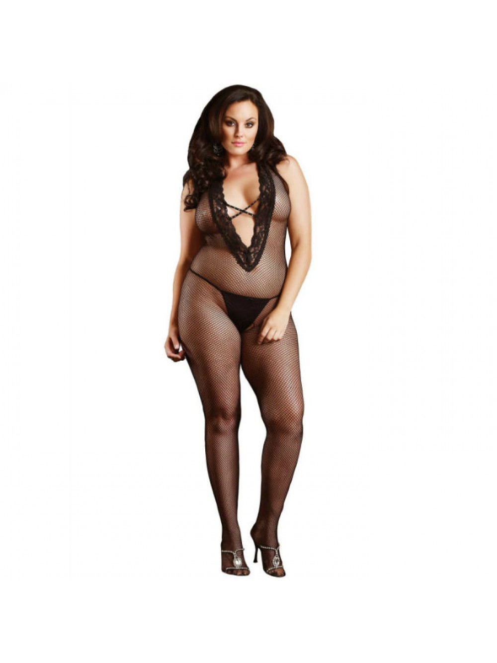 LEG AVENUE HALTER BODYSTOCKING BLACK PLUS SIZE