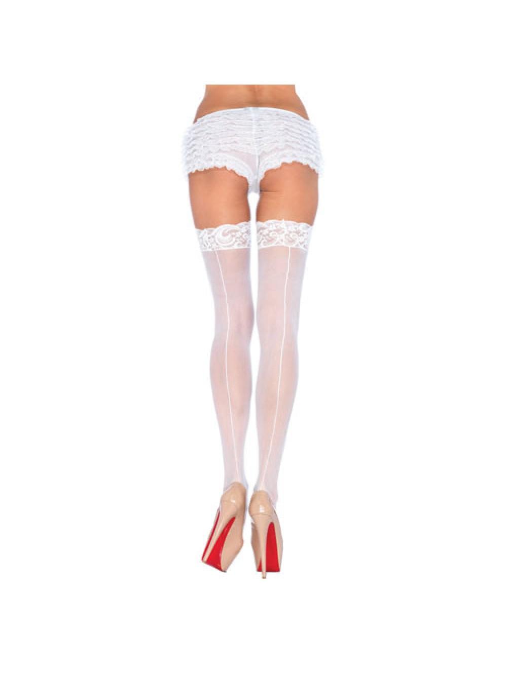 Leg Avenue Sheer Stockings With Backseam White UK 8 to 14