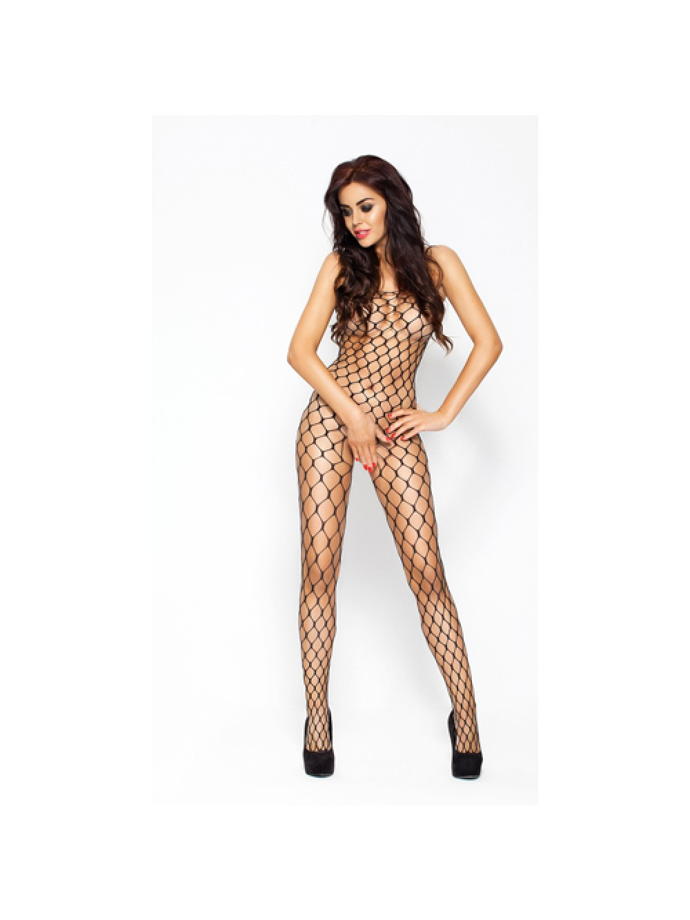 Net bodystocking with large holes - black