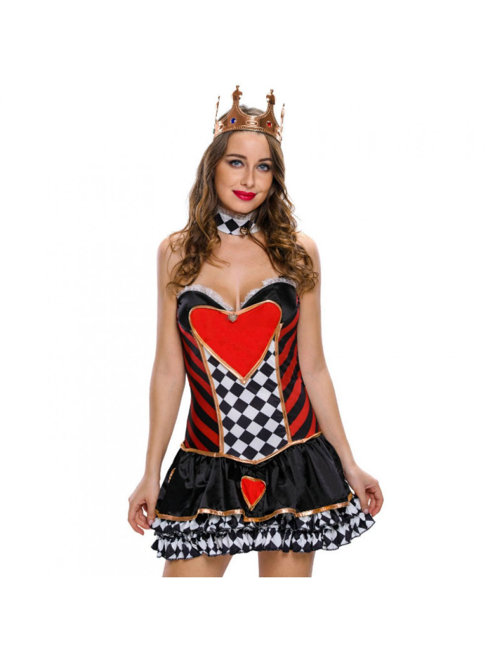 QUEEN COSTUME HEARTS SIZE M