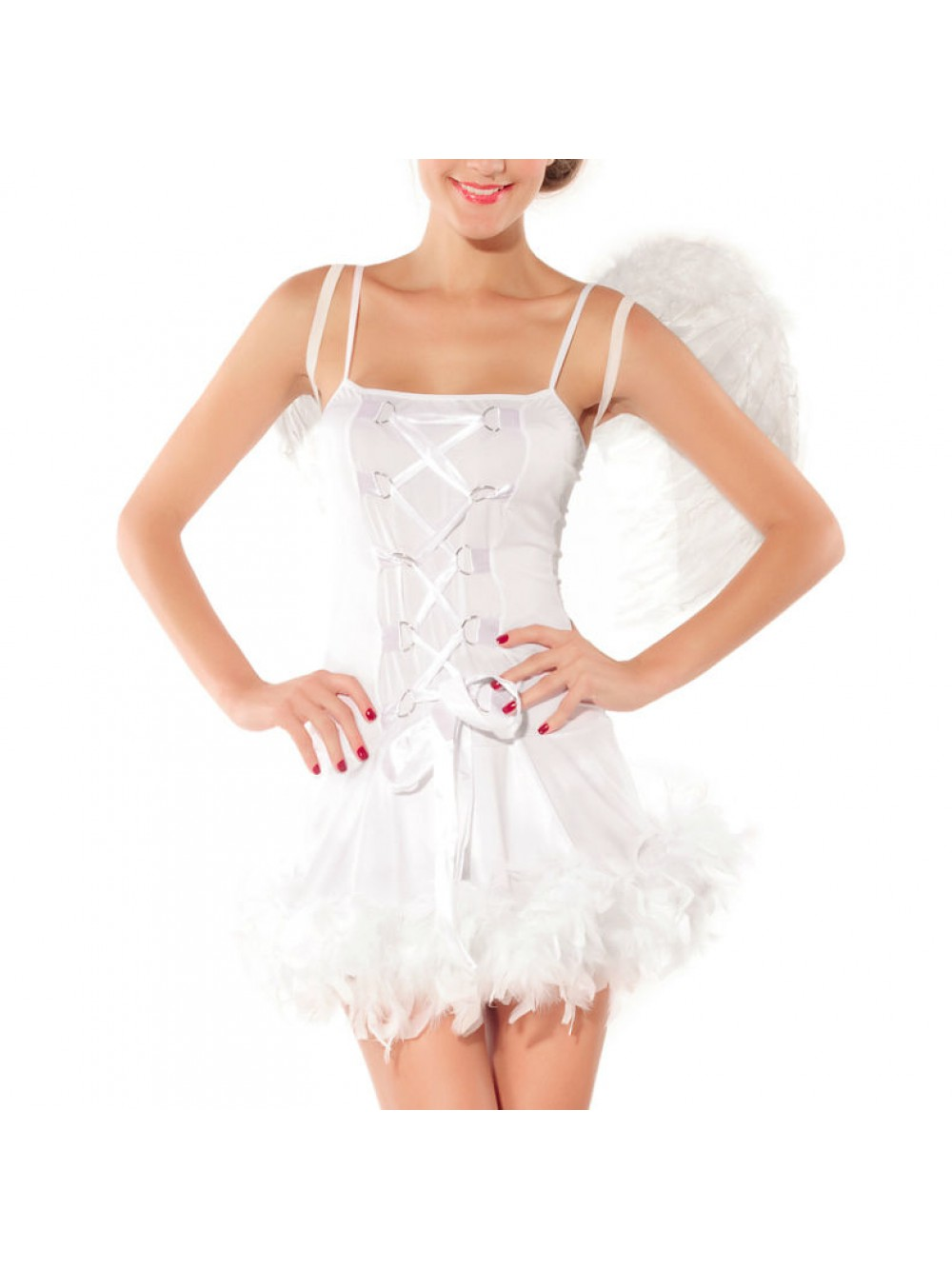 QUEEN COSTUME SEXY ADULT ANGEL WHITE ONE SIZE