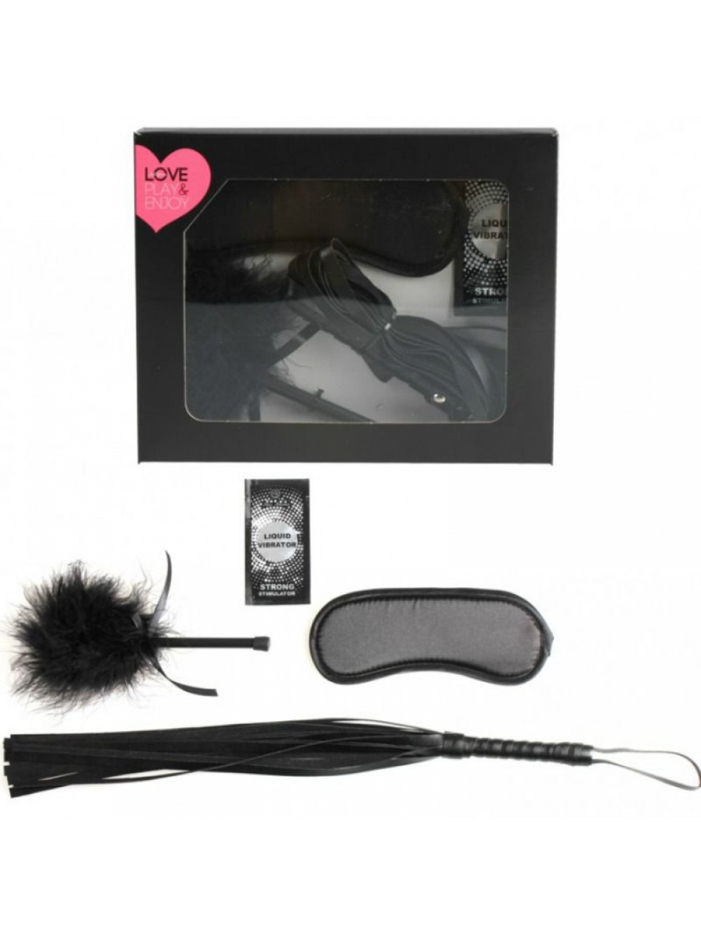 FIRST KIT BDSM FEATHER + MONODOSE+ WHIP + BLINDFOLD