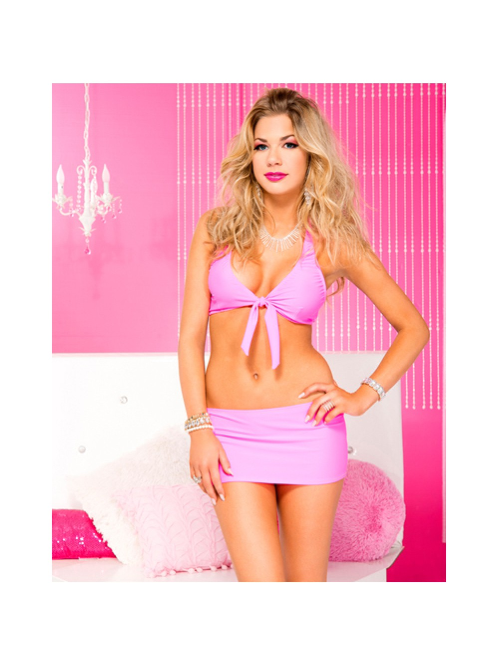 Stretch tie front top and mini skirt HOTPINK