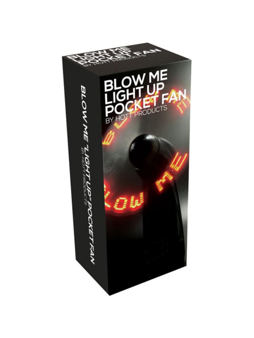 Blow Me Light Up Pocket Fan Black